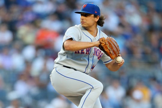 Jason Vargas #44 of the New York Mets pitches in the first inning against the New York Yankees at Yankee Stadium on June 11, 2019 in New York City.