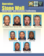 The nine men indicted last week following Operation Stone Wall, which investigated a cocaine and weapons ring in South Jersey.