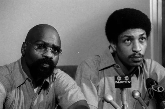 PATERSON,NJ   12/22/76   RUBIN HURRICANE CARTER: Rubin Carter and John Artis hold press conference after their second conviction.   -PHOTO CREDIT: The Record  / Ed Hill