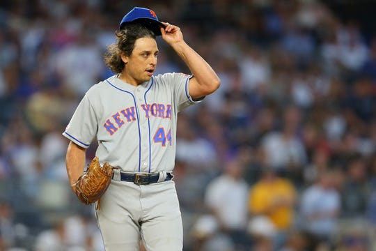 Jason Vargas of the New York Mets reacts in the third inning against the New York Yankees at Yankee Stadium on June 11, 2019 in New York City.