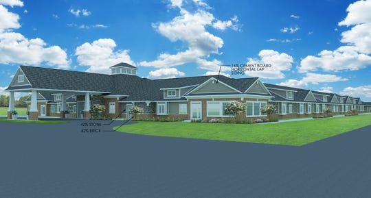 A rendering of what the Hampton Manor senior living facility proposed in Lyon Township would look like.