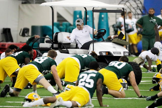 Packers head coach Matt LaFleur during practice at the Don Hutson Center.