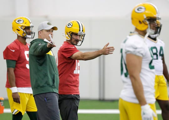 Green Bay Packers quarterback Aaron Rodgers (12) during practice at the Don Hutson Center on Wednesday, June 12, 2019 in Ashwaubenon, Wis.
