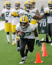 Green Bay Packers running back Aaron Jones (33) during practice at the Don Hutson Center on Wednesday, June 12, 2019 in Ashwaubenon, Wis.