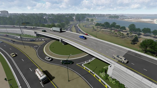 An overhead look at the projected flyover and roundabout on 17th Avenue in Pensacola, expected to be completed by 2021.