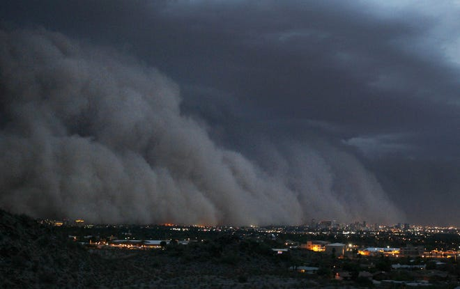A giant dust storm covers Phoenix on July 5, 2011. The storm was one of the largest on record in the area.