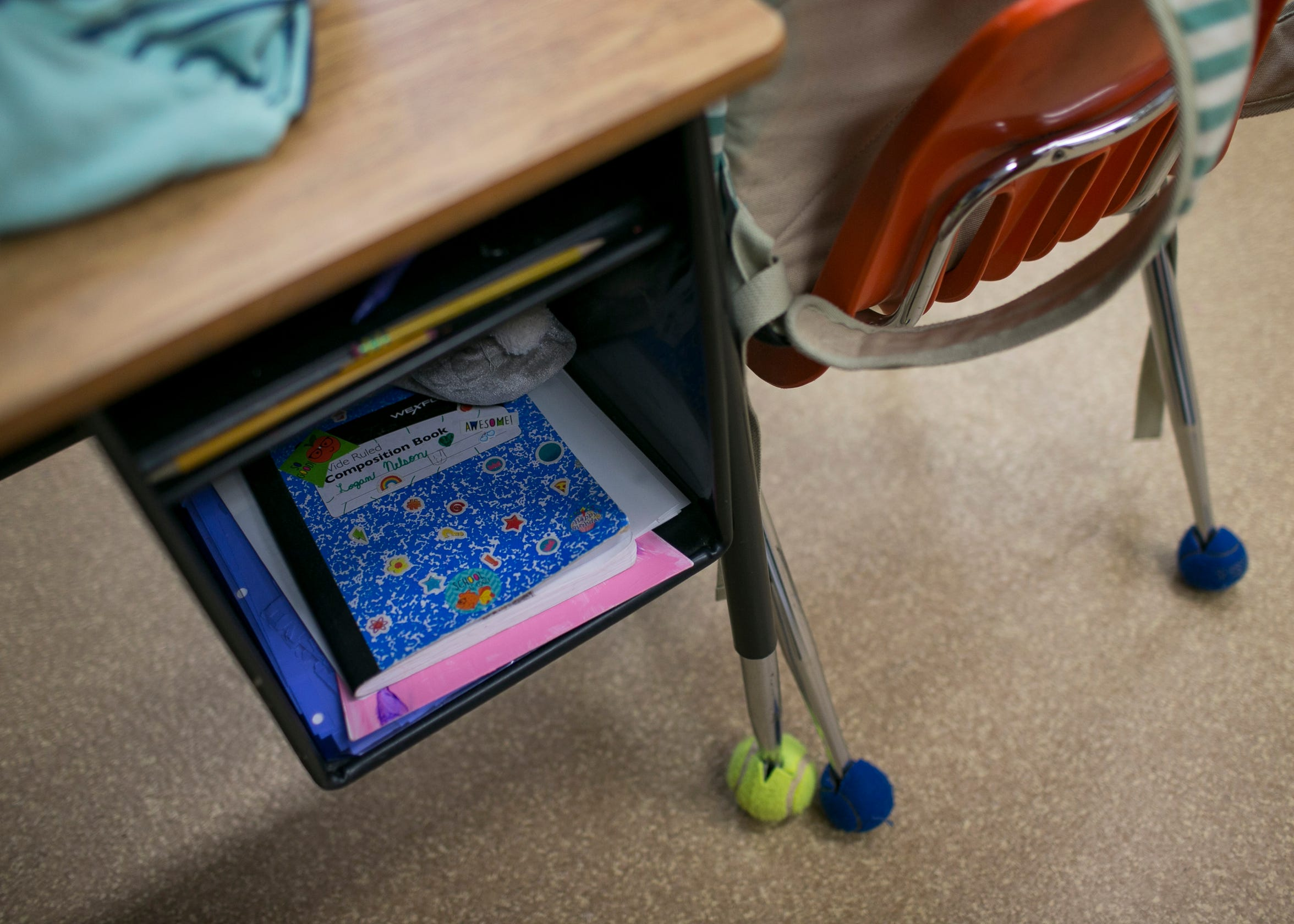 11-year-old sixth grader Logan Nelson's notebook sits in her desk at the Crown King Elementary School on May 22, 2019.