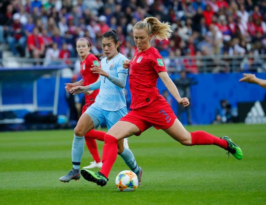 United States midfielder Sam Mewis (3) takes a shot against Thailand during the first half in group stage play during the June 11 FIFA Women's World Cup France 2019 at Stade Auguste-Delaune.