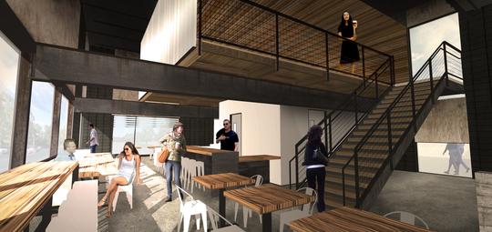 The interior design of Press Coffee's new roastery.