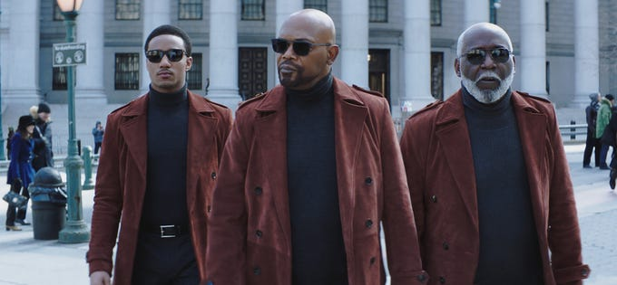 """It's the men of """"Shaft:"""" Jessie T. Usher (from left), Samuel L. Jackson and Richard Roundtree."""