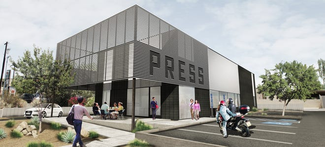 The exterior design of the new Press Coffee roastery.