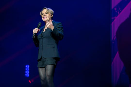 """Eddie Izzard performing """"Wunderbar"""" in """"girl mode"""" at the Beacon Theatre in New York City."""