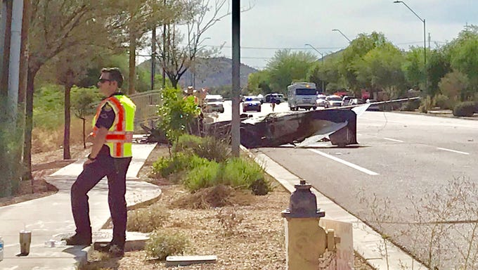A small airplane crashed at Deer Valley Road and 31st Avenue in Phoenix on June 11, 2019.