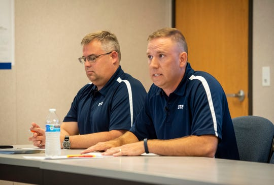 Plant Manager Michael Banks, right, and Platform Manager Dennis Decator speak during a press event for DTE's Blue Water Energy Center Wednesday, June 12, 2019 in East China.