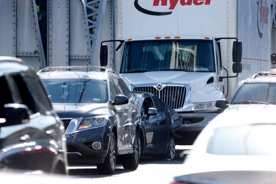 Multiple vehicles were involved in a collision in the westbound lane of the Mid-Hudson Bridge in Highland on June 11, 2019.