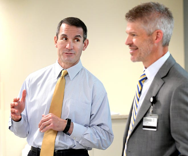 State Auditor General Eugene DePasquale, left, talks with WellSpan York Hospital President Keith Noll during his visit to York Hospital Wednesday, June 12, 2019. Bill Kalina photo