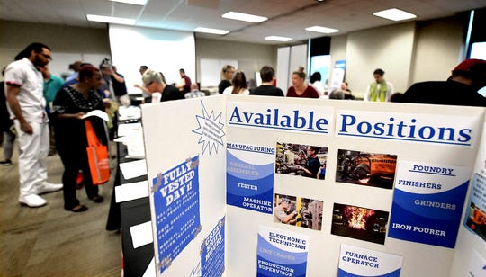 Job-seekers pack a room at the York County Administration Center during a Second Chance job fair Wednesday, June 12, 2019. The fair, sponsored by the York County Reentry Coalition, was for York County residents with a criminal background. Bill Kalina photo