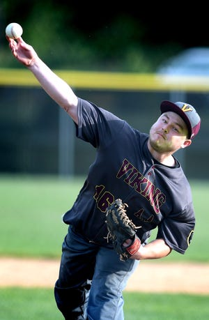 Viking pitcher Tyler Fisher delivers to a Glen Rock batter during Central League play at Sunset Lane Park Tuesday, June 11, 2019. Bill Kalina photo