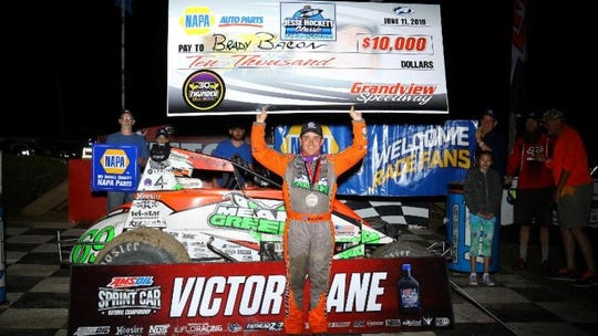 Brady Bacon is shown here after his win Tuesday night at Grandview Speedway.