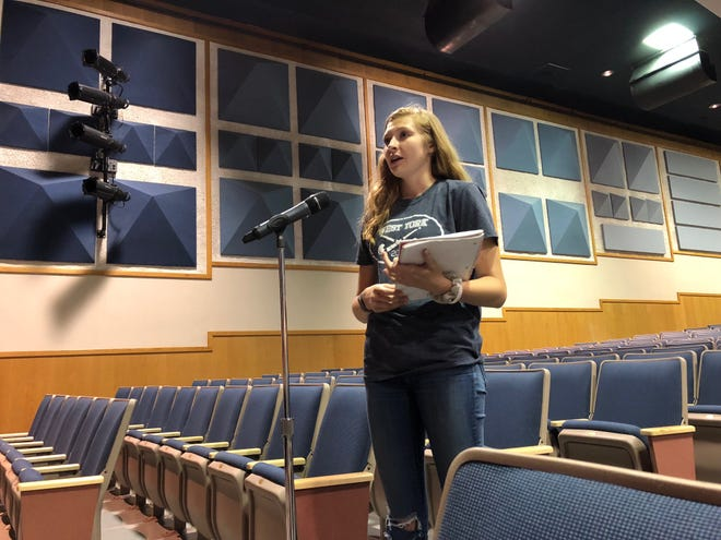 Rising junior Madge Myers, daughter of Jennifer Myers, who started a petition to stop the West York Area School District Lunch and Learn program, speaks out for her classmates on why the program won't work. (Photo: Lindsay C. VanAsdalan)
