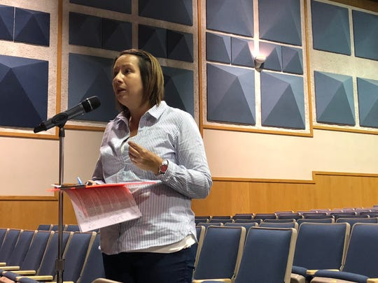 District resident Ruth Fletcher argues that parents have not been given enough opportunity to be involved in the West York Area High School Lunch and Learn program proposed for the fall. (Photo: Lindsay C. VanAsdalan)