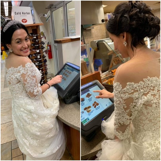 Sully Pinos and her husband, Kevin Kennedy, made a pit stop at Royal Farms to pick up some chicken, hours after their wedding reception.