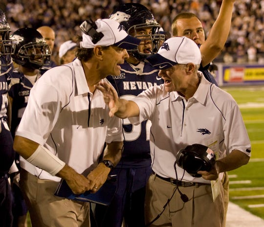 Mike Bradeson, left with head coach Chris Ault, coached at Nevada in two long stints (1986 to 1991, and 2010-2016).