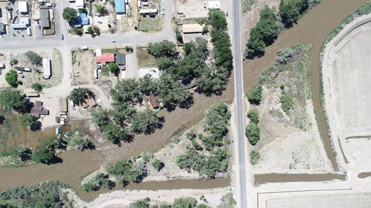 Aerial pictures show water levels rising on the Walker River.