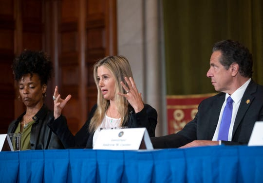 Actress Mira Sorvino tearfully described how she was the victim of date rape, speaking in Albany on June 12, 2019, to press for stronger sexual harassment and rape laws in New York.