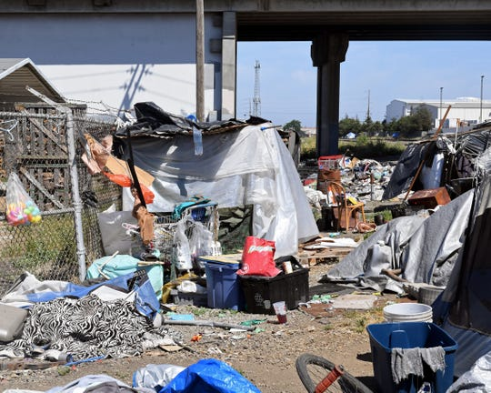 The homeless encampment along the railroad tracks backs right up to dozens of Salinas businesses. June 12, 2019.