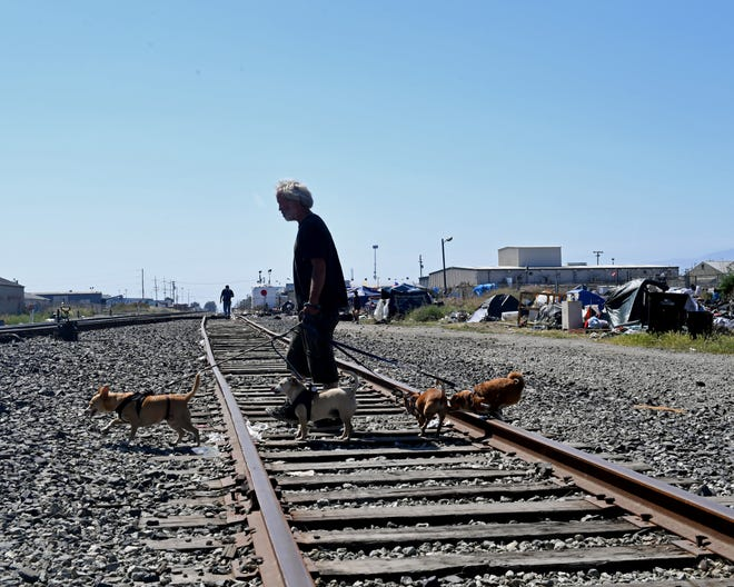 Tom Wright, a homeless man, takes his dogs across the railroad tracks, next to an encampment where he stays. June 12, 2019.
