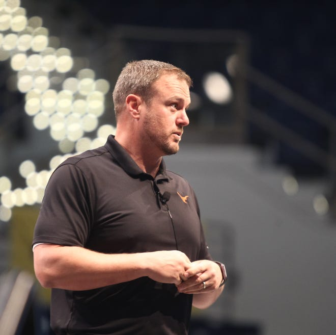University of Texas head football coach Tom Herman speaks to the Angelo Football Clinic Wednesday, June 12, 2019, at the Junell Center.