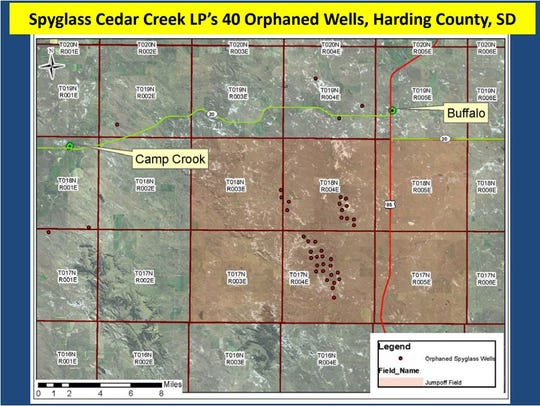A map showing where 40 abandoned natural gas wells are located in northwestern South Dakota.