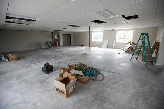 A classroom is undergoing renovations at Cox College.