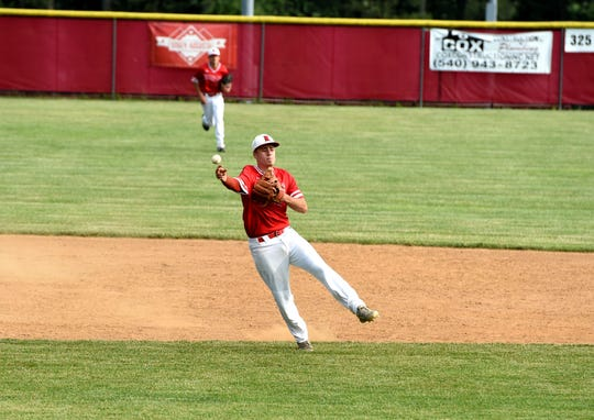 Riverheads shortstop Grant Painter throws to first base during his team's state quarterfinal win. Riverheads plays in the Class 1 state semifinals Thursday at noon in Pulaski.