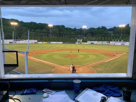 James Hickey's view from the Moxie Memorial Stadium press box. Hickey is the PA announcer for the Staunton Braves.