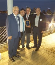 (From left) Dimitris Rozanitis, Distict 5 governor for the American Hellenic Educational Progressive Association; George Horiates, supreme secretary, AHEPA; Alex Kaganzev, treasurer, Vineland Chapter, AHEPA; Pete Doulis, Vineland Chapter, AHEPA; were present at the88th American Hellenic Educational Progressive Association Fifth District Convention asKaganzev was honored as the Ahepan of the Year in the fifth district.