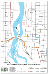 A color coordinated map shows where the new routes for State Highway 52 and Business 51 will be in downtown Wausau.