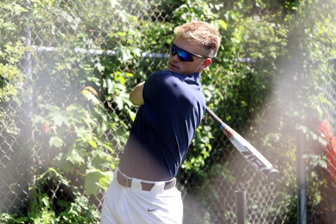 Suffern senior Jack Scanlon bats during baseball practice at the high school June 12, 2019. The team plays in the state final four for the first time on Friday in Binghamton.
