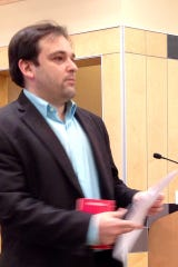 Dylan Skriloff addressing the Rockland County Legislature's Planning and Public Works Committee in April 2013.