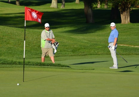 Century Country Club's Frank Bensel watches his chip shot come to rest inside five feet. He made the birdie from there and won the Westchester Open on June 11, 2019.