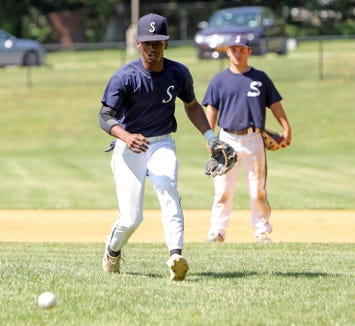 Suffern senior Kenny Dodson works on drills during baseball practice at the high school June 12, 2019. The team plays in the state final four for the first time on Friday in Binghamton.
