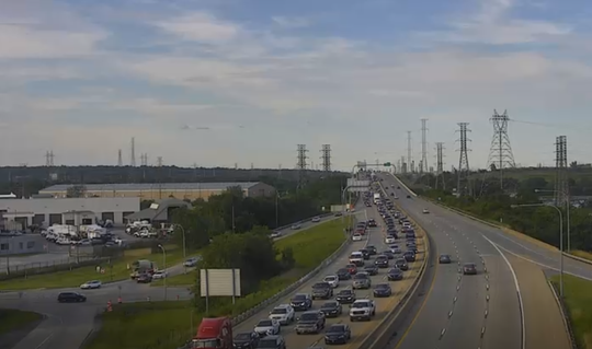 Traffic backed up on I-495 southbound Wednesday evening at the Terminal Avenue exit.
