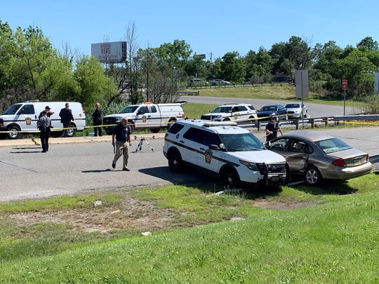 A Pennsylvania state trooper chased a driver on I-95 Monday afternoon and crashed with him on a Highland Avenue ramp in Chester City before shooting the man in the leg, according to police.