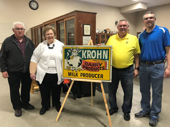 "Master cheesemaker Roger Krohn (second from right) is joined by his sister Jean Doell and her husband, Arlie Doell, and their son, Patrick Doell, also a master cheesemaker, during the second program of ""Our Dairy Past"" featuring Krohn Dairy. The event was hosted by the Agricultural Heritage and Resource Center in Kewaunee."