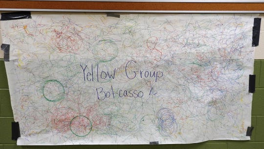 Results of the Yellow Group of students of Camp Invention at Coshocton Elementary School designing Orbots to draw circles and lines to create their Bot-Casso drawing.