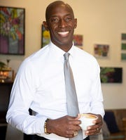 Mayor of Miramar, Florida and Democratic candidate for United States President Wayne Messam smiles following a meeting with members of the New Hampshire Young Democrats.