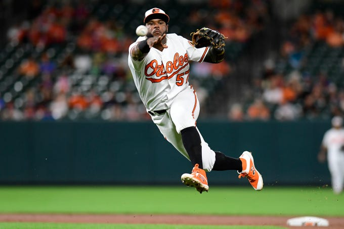 June 11:  Orioles second baseman Hanser Alberto makes a leaping, off-balance throw to first base during Baltimore's 4-2 win over the Toronto Blue Jays at Oriole Park at Camden Yards.
