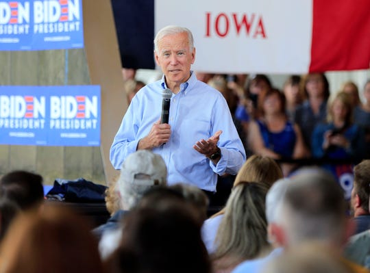 Former Vice President Joe Biden campaigns in a packed hall in Ottumwa, Iowa Tuesday, June 11, 2019. (Via OlyDrop)