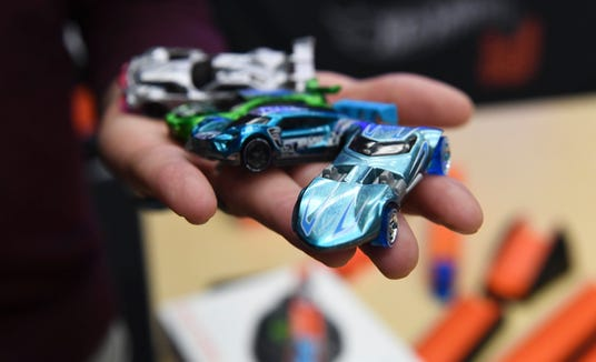 The new Hot Wheels id from Mattel. A chip in the Hot Wheels ie tracks and stores speed, laps and other functions.